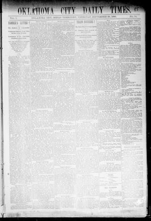 Primary view of object titled 'Oklahoma City Daily Times. (Oklahoma City, Indian Terr.), Vol. 1, No. 76, Ed. 1 Thursday, September 26, 1889'.