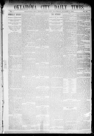 Primary view of object titled 'Oklahoma City Daily Times. (Oklahoma City, Indian Terr.), Vol. 1, No. 84, Ed. 1 Saturday, October 5, 1889'.