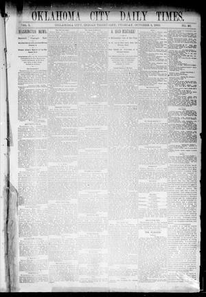 Primary view of object titled 'Oklahoma City Daily Times. (Oklahoma City, Indian Terr.), Vol. 1, No. 86, Ed. 1 Tuesday, October 8, 1889'.