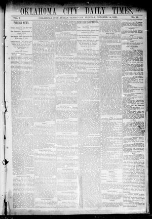 Primary view of object titled 'Oklahoma City Daily Times. (Oklahoma City, Indian Terr.), Vol. 1, No. 91, Ed. 1 Monday, October 14, 1889'.