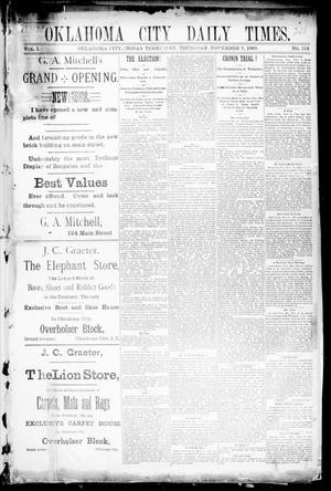 Primary view of object titled 'Oklahoma City Daily Times. (Oklahoma City, Indian Terr.), Vol. 1, No. 112, Ed. 1 Thursday, November 7, 1889'.