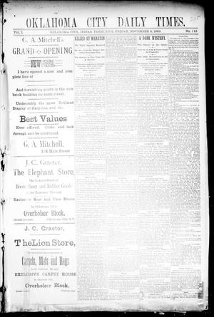 Primary view of object titled 'Oklahoma City Daily Times. (Oklahoma City, Indian Terr.), Vol. 1, No. 113, Ed. 1 Friday, November 8, 1889'.