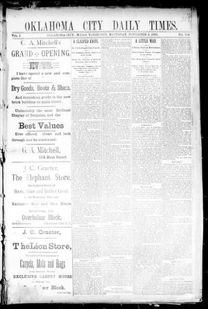 Primary view of object titled 'Oklahoma City Daily Times. (Oklahoma City, Indian Terr.), Vol. 1, No. 114, Ed. 1 Saturday, November 9, 1889'.