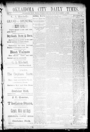 Primary view of object titled 'Oklahoma City Daily Times. (Oklahoma City, Indian Terr.), Vol. 1, No. 115, Ed. 1 Monday, November 11, 1889'.