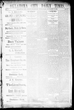 Primary view of object titled 'Oklahoma City Daily Times. (Oklahoma City, Indian Terr.), Vol. 1, No. 117, Ed. 1 Wednesday, November 13, 1889'.
