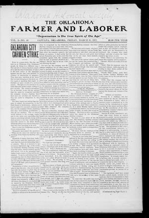Primary view of object titled 'The Oklahoma Farmer and Laborer (Sapulpa, Okla.), Vol. 2, No. 48, Ed. 1 Friday, March 10, 1911'.