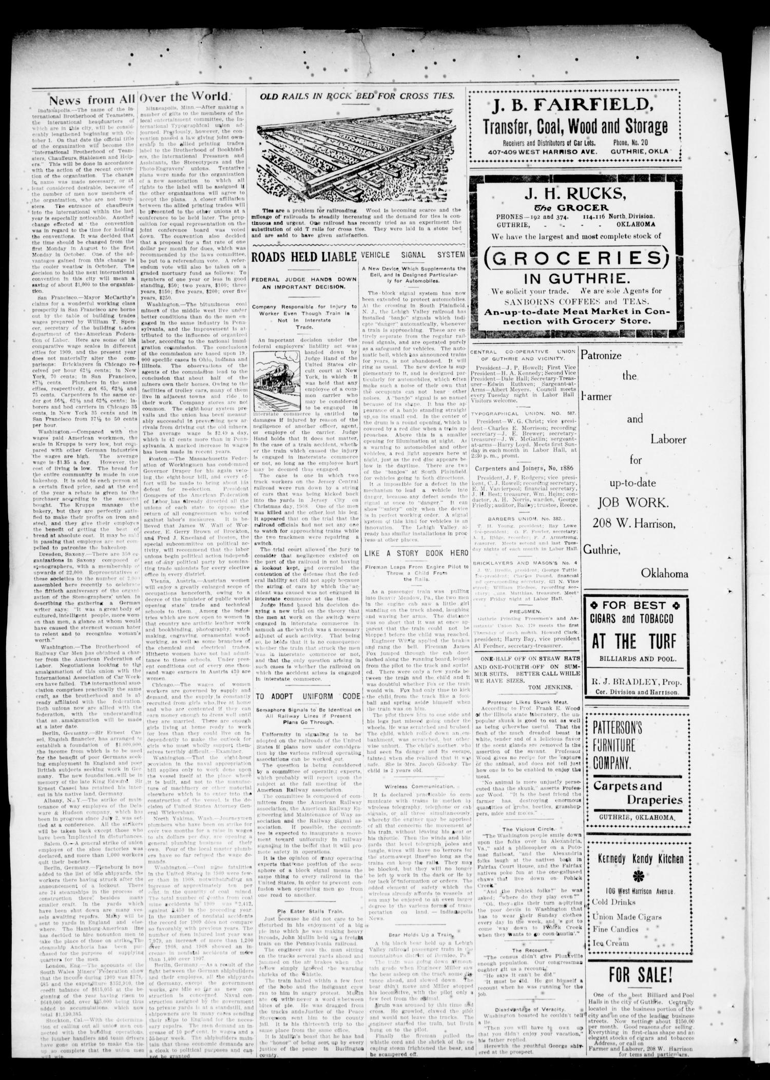 The Oklahoma Farmer and Laborer (Guthrie, Okla.), Vol. 2, No. 21, Ed. 1 Friday, September 2, 1910                                                                                                      [Sequence #]: 4 of 4