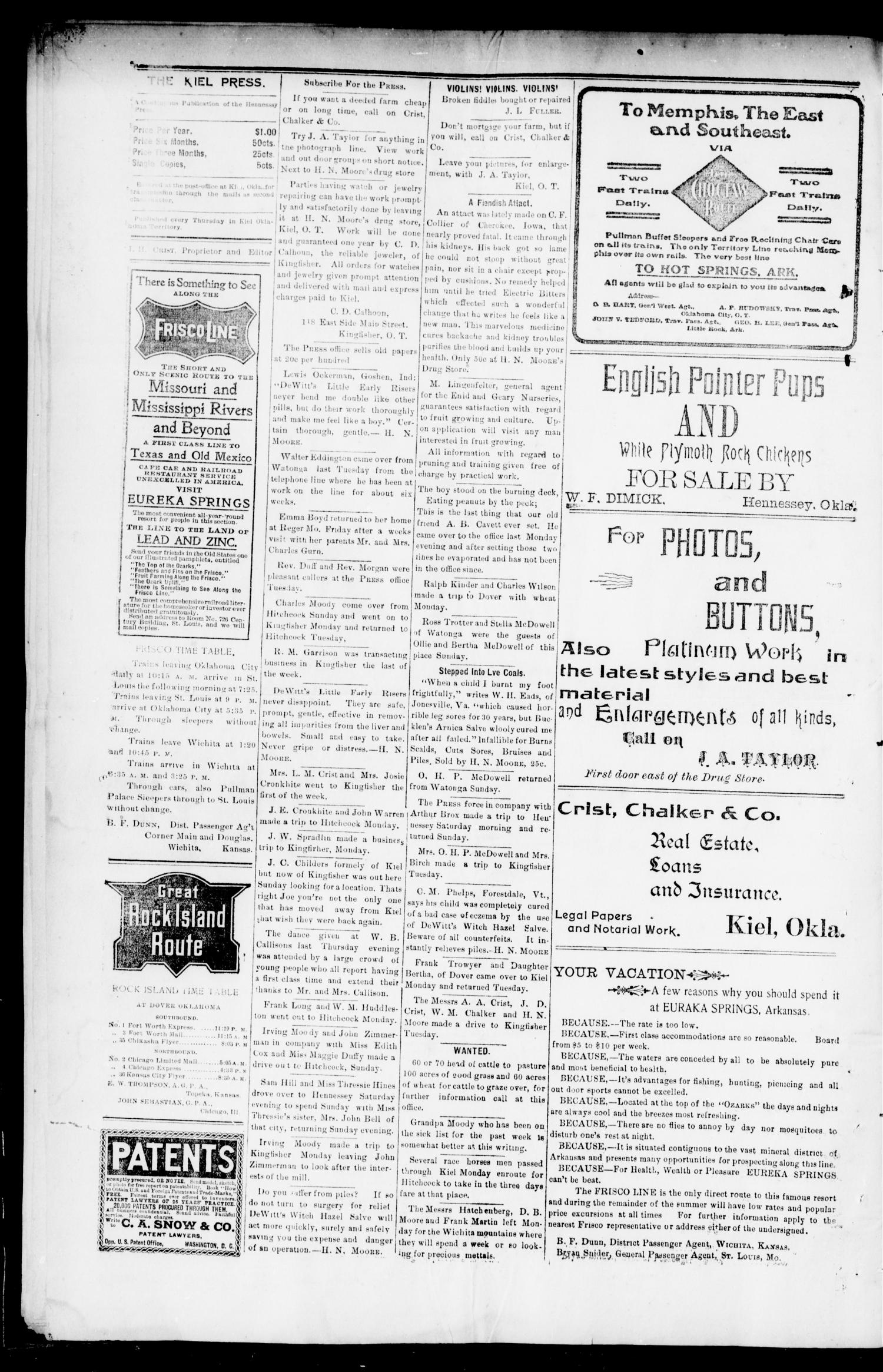 The Kiel Press. (Kiel, Okla.), Vol. 4, No. 26, Ed. 1 Thursday, October 31, 1901                                                                                                      [Sequence #]: 4 of 8