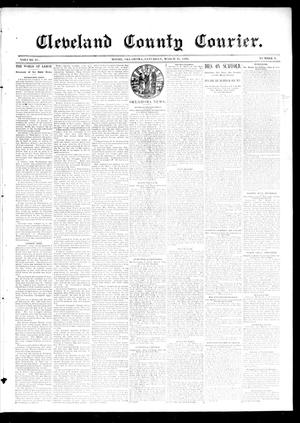 Primary view of object titled 'Cleveland County Courier. (Moore, Okla.), Vol. 4, No. 9, Ed. 1 Saturday, March 21, 1896'.