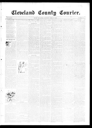 Primary view of object titled 'Cleveland County Courier. (Moore, Okla.), Vol. 4, No. 14, Ed. 1 Saturday, April 25, 1896'.