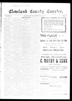 Primary view of object titled 'Cleveland County Courier. (Moore, Okla.), Vol. 4, No. 21, Ed. 1 Saturday, June 20, 1896'.