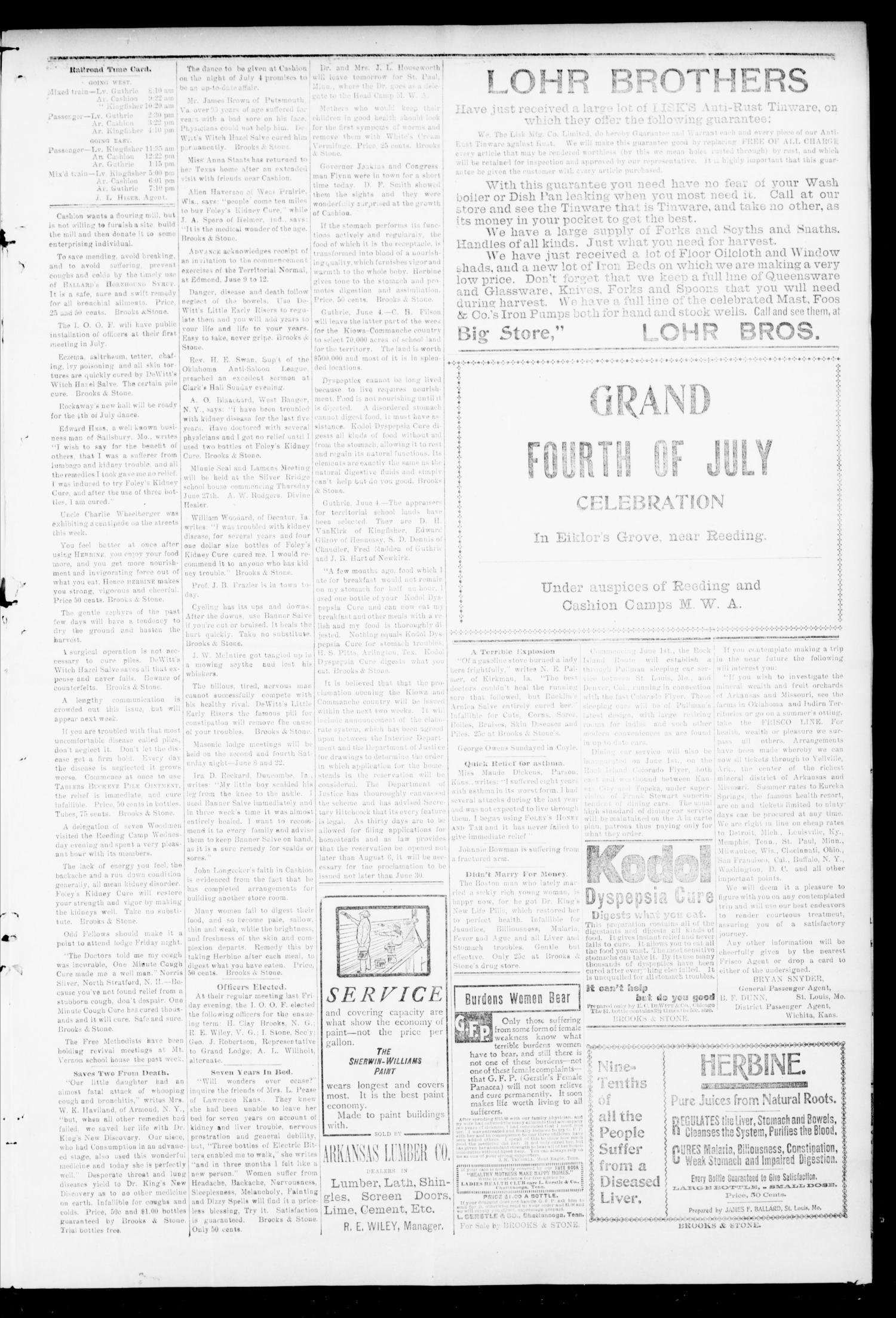 Cashion Advance. (Cashion, Okla.), Vol. 2, No. 1, Ed. 1 Thursday, June 6, 1901                                                                                                      [Sequence #]: 5 of 8