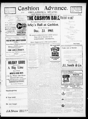 Primary view of object titled 'Cashion Advance. and Oklahoma State. (Cashion, Okla.), Vol. 6, No. 28, Ed. 1 Thursday, December 14, 1905'.