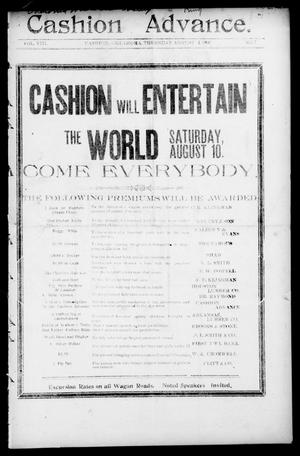 Primary view of object titled 'Cashion Advance. (Cashion, Okla.), Vol. 8, No. 7, Ed. 1 Thursday, August 1, 1907'.