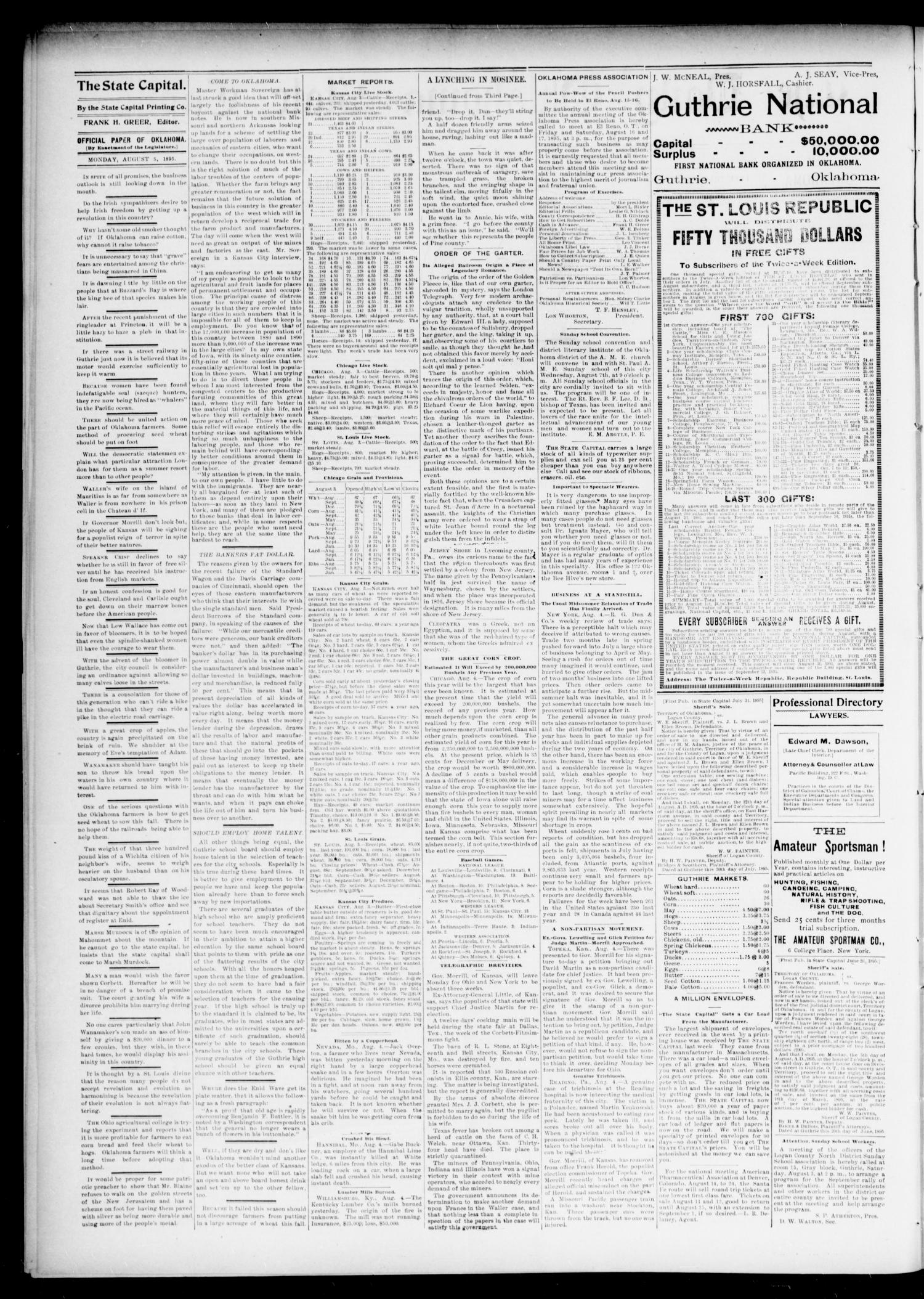 The Daily Oklahoma State Capital. (Guthrie, Okla.), Vol. 7, No. 89, Ed. 1 Monday, August 5, 1895                                                                                                      [Sequence #]: 2 of 6
