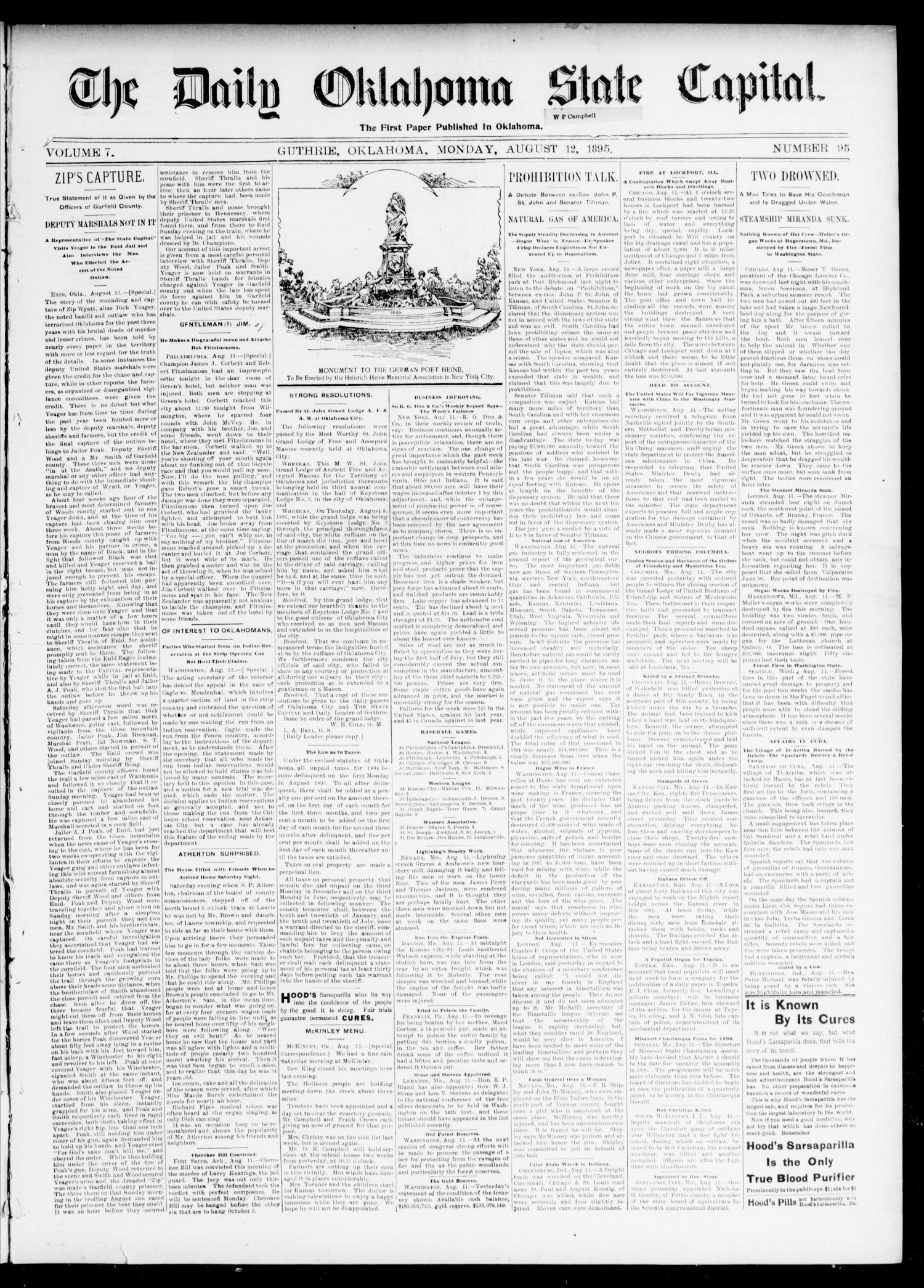 The Daily Oklahoma State Capital. (Guthrie, Okla.), Vol. 7, No. 95, Ed. 1 Monday, August 12, 1895                                                                                                      [Sequence #]: 1 of 4