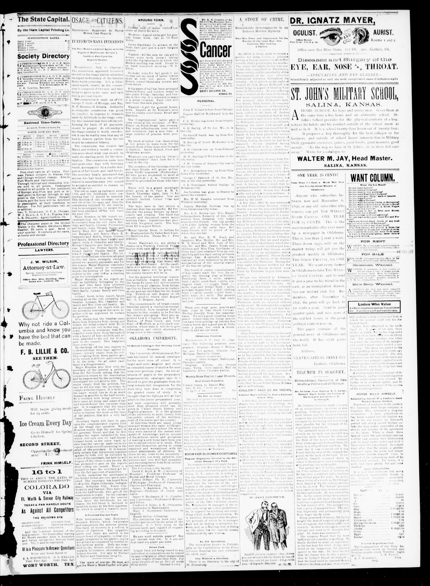 The Daily Oklahoma State Capital. (Guthrie, Okla.), Vol. 8, No. 66, Ed. 1 Tuesday, July 21, 1896                                                                                                      [Sequence #]: 3 of 4