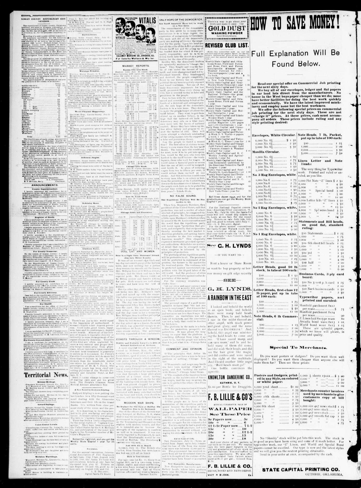 The Daily Oklahoma State Capital. (Guthrie, Okla.), Vol. 8, No. 66, Ed. 1 Tuesday, July 21, 1896                                                                                                      [Sequence #]: 4 of 4