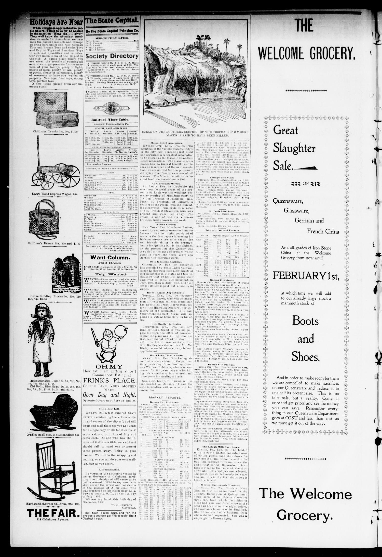 The Daily Oklahoma State Capital. (Guthrie, Okla.), Vol. 9, No. 51, Ed. 1 Wednesday, December 30, 1896                                                                                                      [Sequence #]: 2 of 8