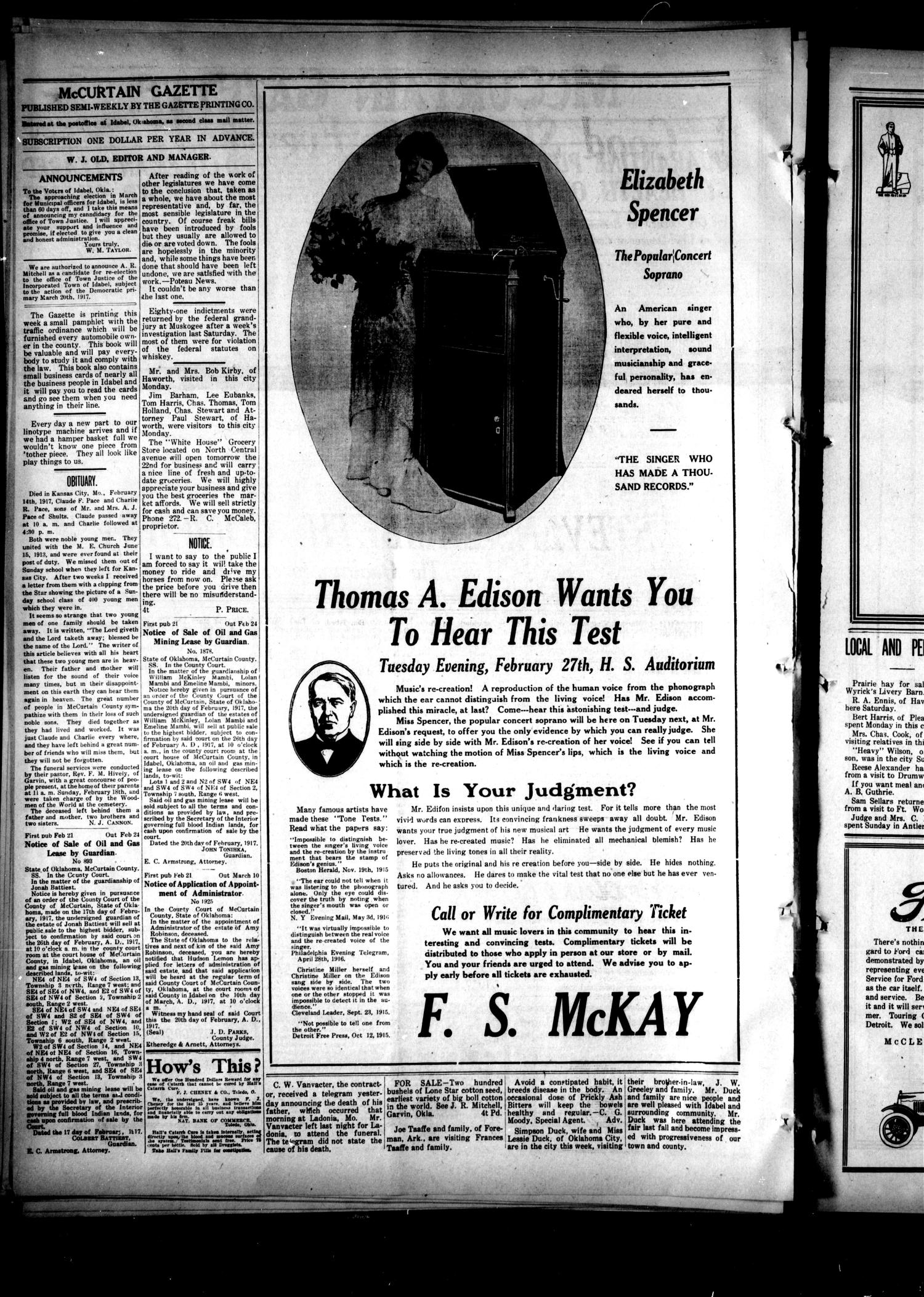 McCurtain Gazette. (Idabel, Okla.), Vol. 12, No. 35, Ed. 1 Wednesday, February 21, 1917                                                                                                      [Sequence #]: 2 of 4