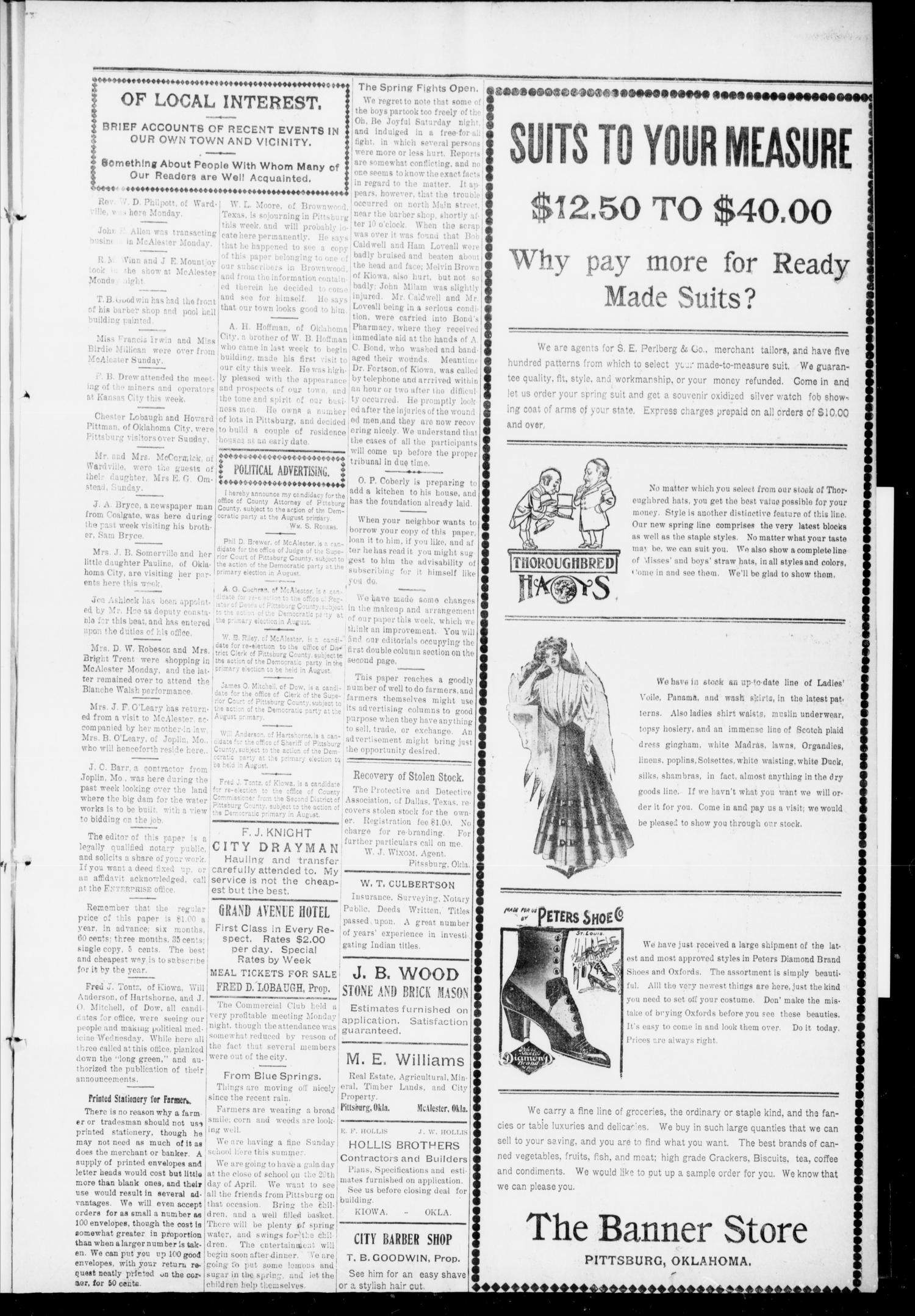 The Pittsburg Enterprise (Pittsburg, Okla.), Vol. 6, No. 16, Ed. 1 Thursday, April 21, 1910                                                                                                      [Sequence #]: 3 of 8
