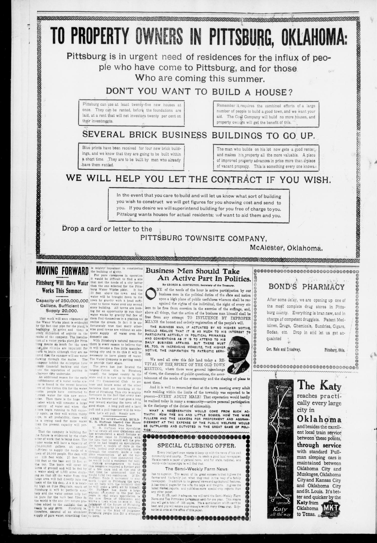 The Pittsburg Enterprise (Pittsburg, Okla.), Vol. 6, No. 16, Ed. 1 Thursday, April 21, 1910                                                                                                      [Sequence #]: 6 of 8