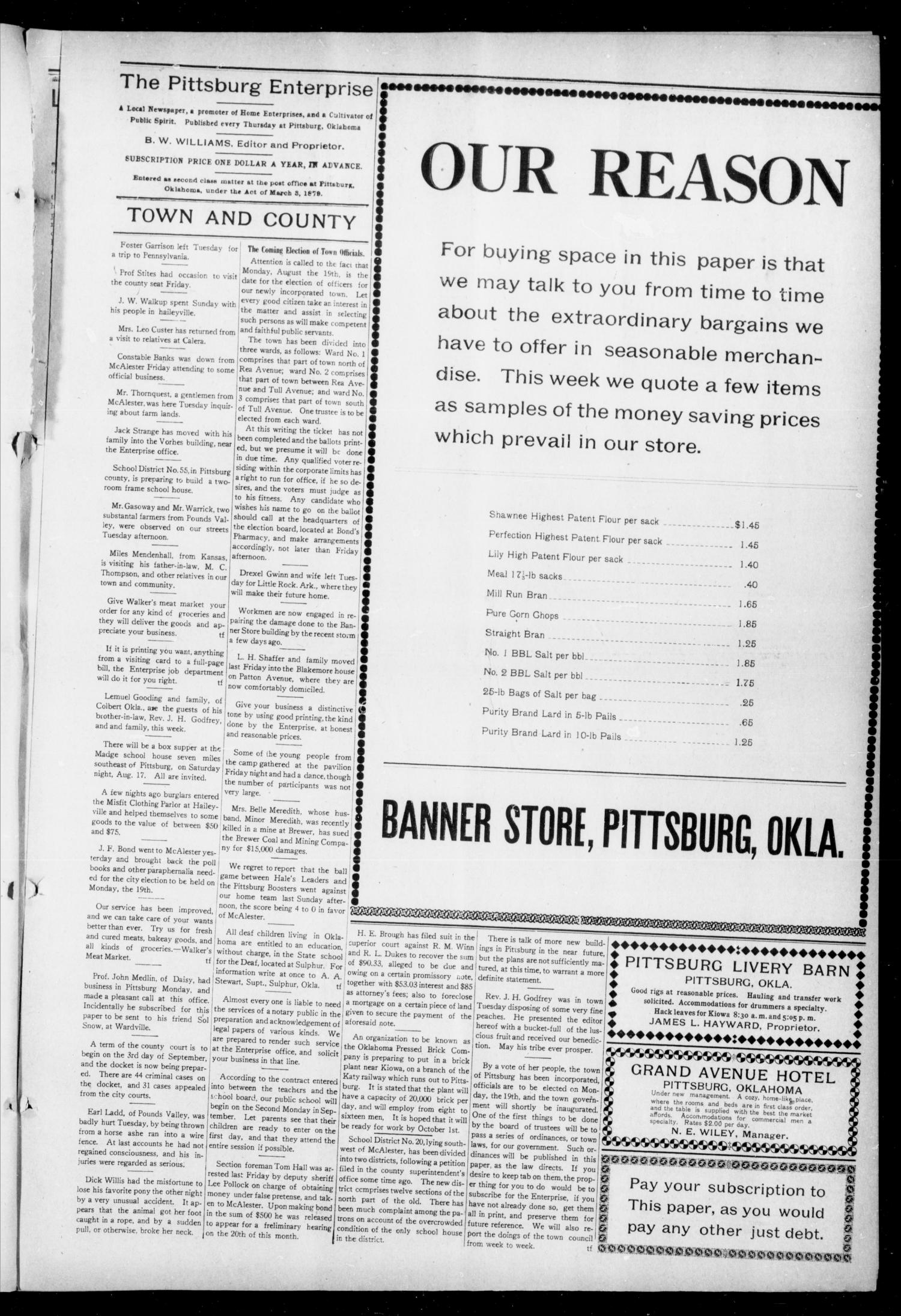 The Pittsburg Enterprise (Pittsburg, Okla.), Vol. 8, No. 32, Ed. 1 Thursday, August 15, 1912                                                                                                      [Sequence #]: 3 of 8