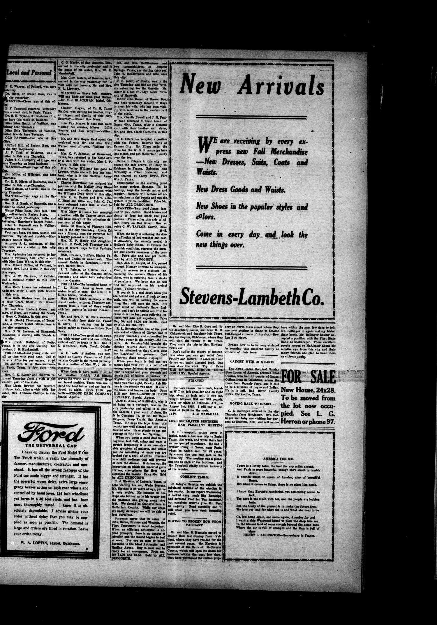 McCurtain Gazette. (Idabel, Okla.), Vol. 13, No. 48, Ed. 1 Saturday, August 10, 1918                                                                                                      [Sequence #]: 3 of 4