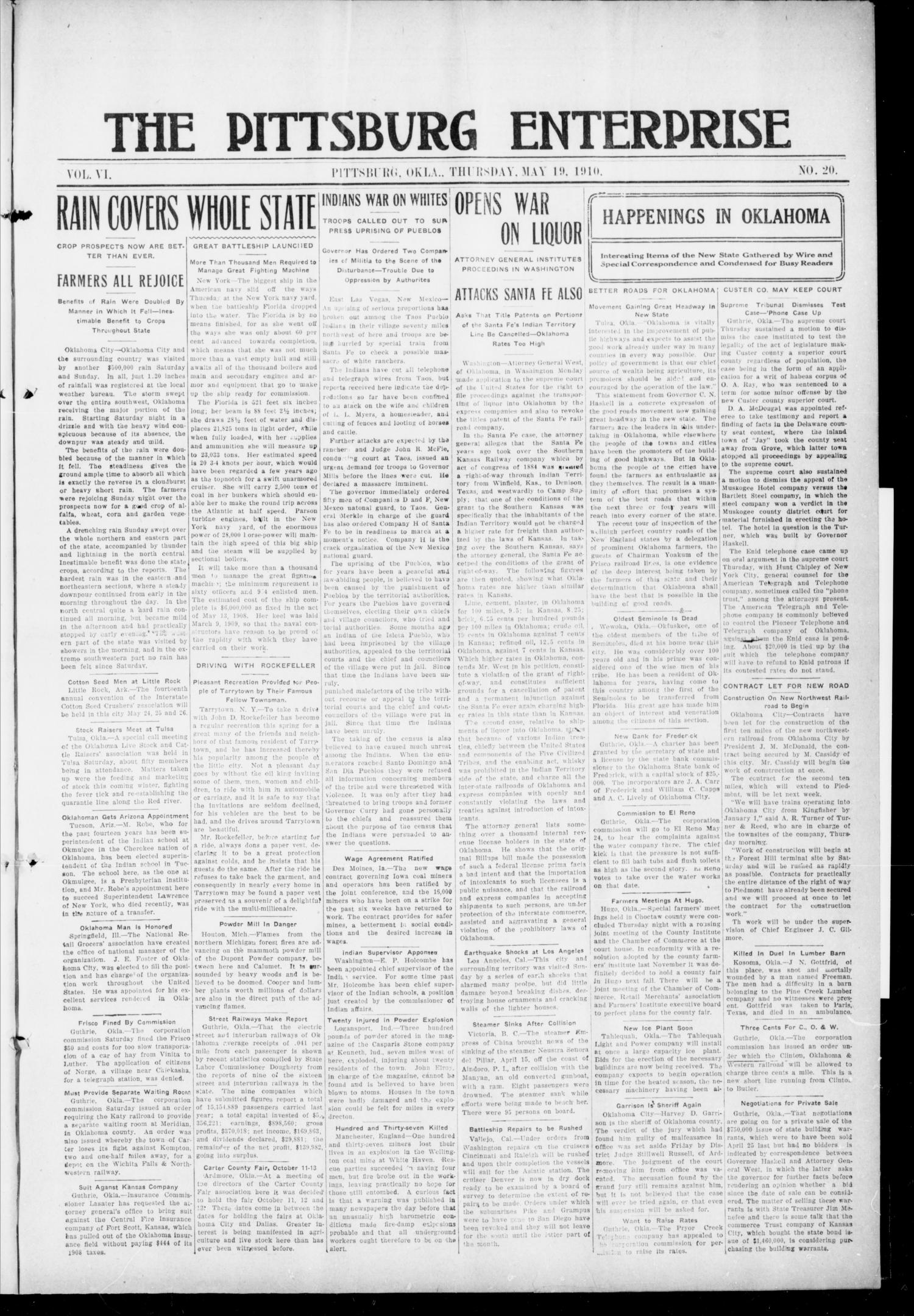 The Pittsburg Enterprise (Pittsburg, Okla.), Vol. 6, No. 20, Ed. 1 Thursday, May 19, 1910                                                                                                      [Sequence #]: 1 of 8