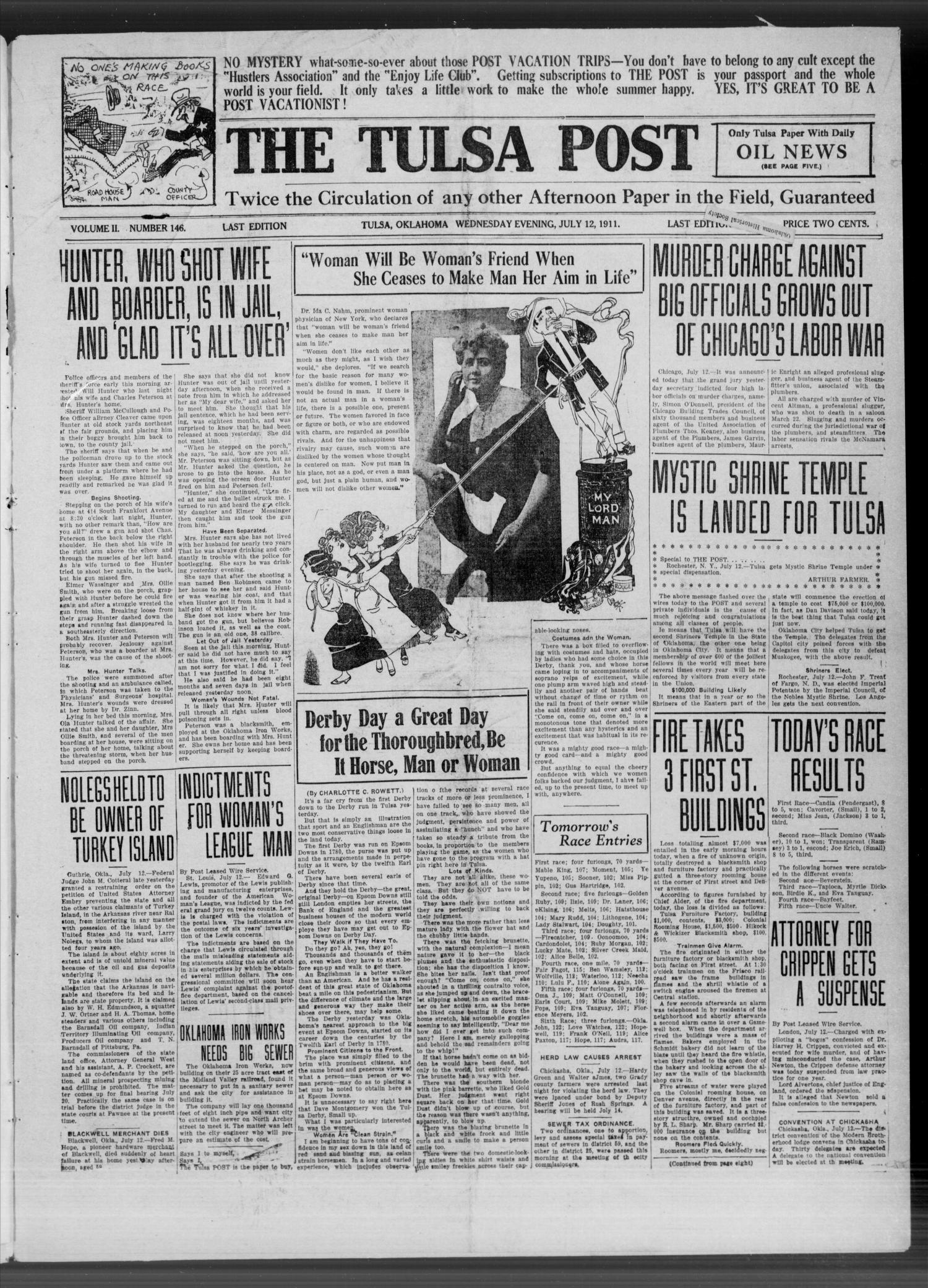 The Tulsa Post (Tulsa, Okla.), Vol. 2, No. 146, Ed. 1 Wednesday, July 12, 1911                                                                                                      [Sequence #]: 1 of 8