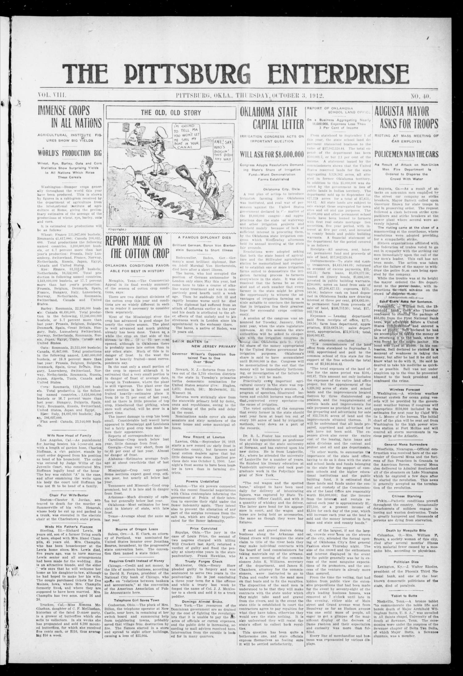 The Pittsburg Enterprise (Pittsburg, Okla.), Vol. 8, No. 40, Ed. 1 Thursday, October 3, 1912                                                                                                      [Sequence #]: 1 of 8