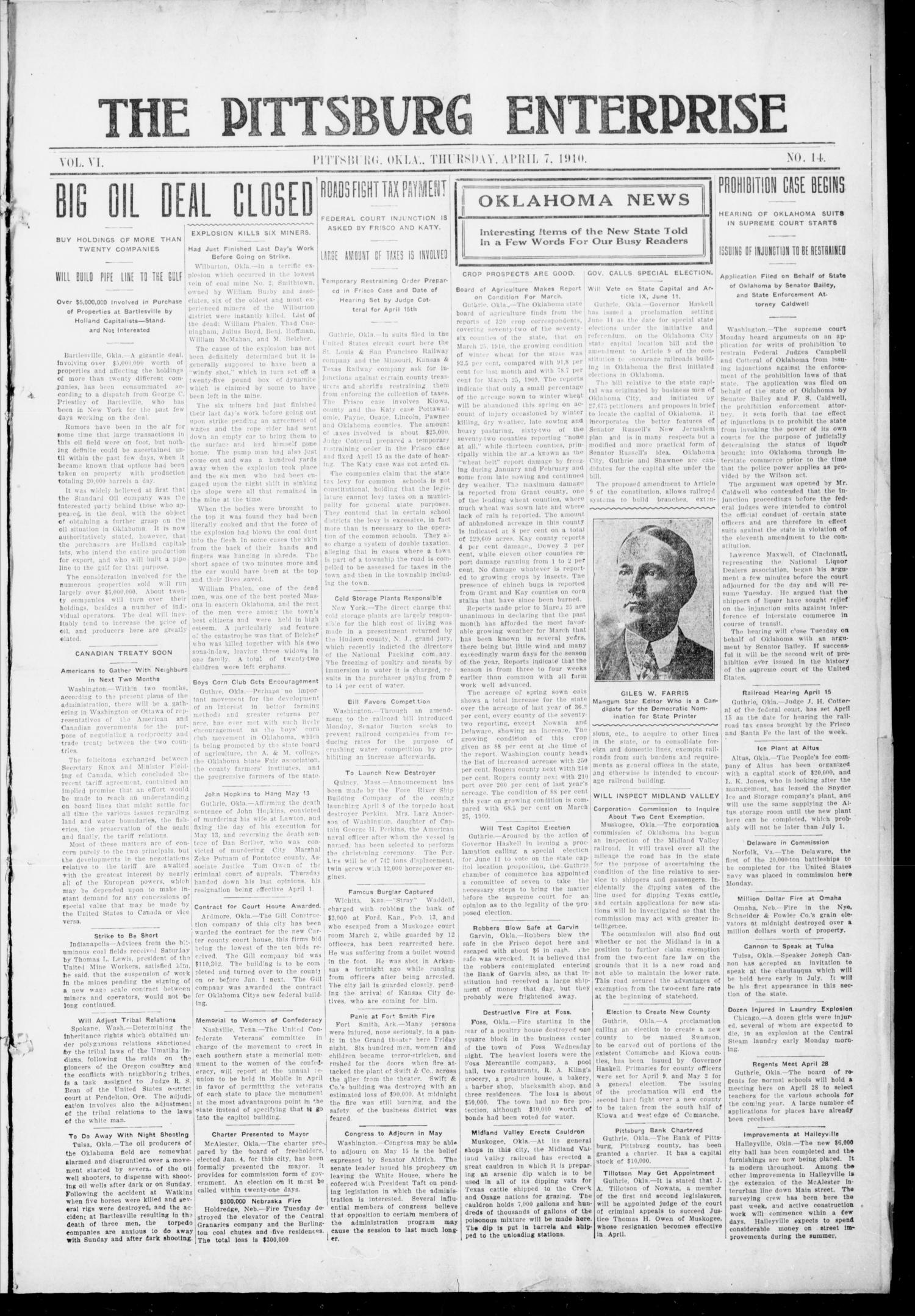 The Pittsburg Enterprise (Pittsburg, Okla.), Vol. 6, No. 14, Ed. 1 Thursday, April 7, 1910                                                                                                      [Sequence #]: 1 of 8