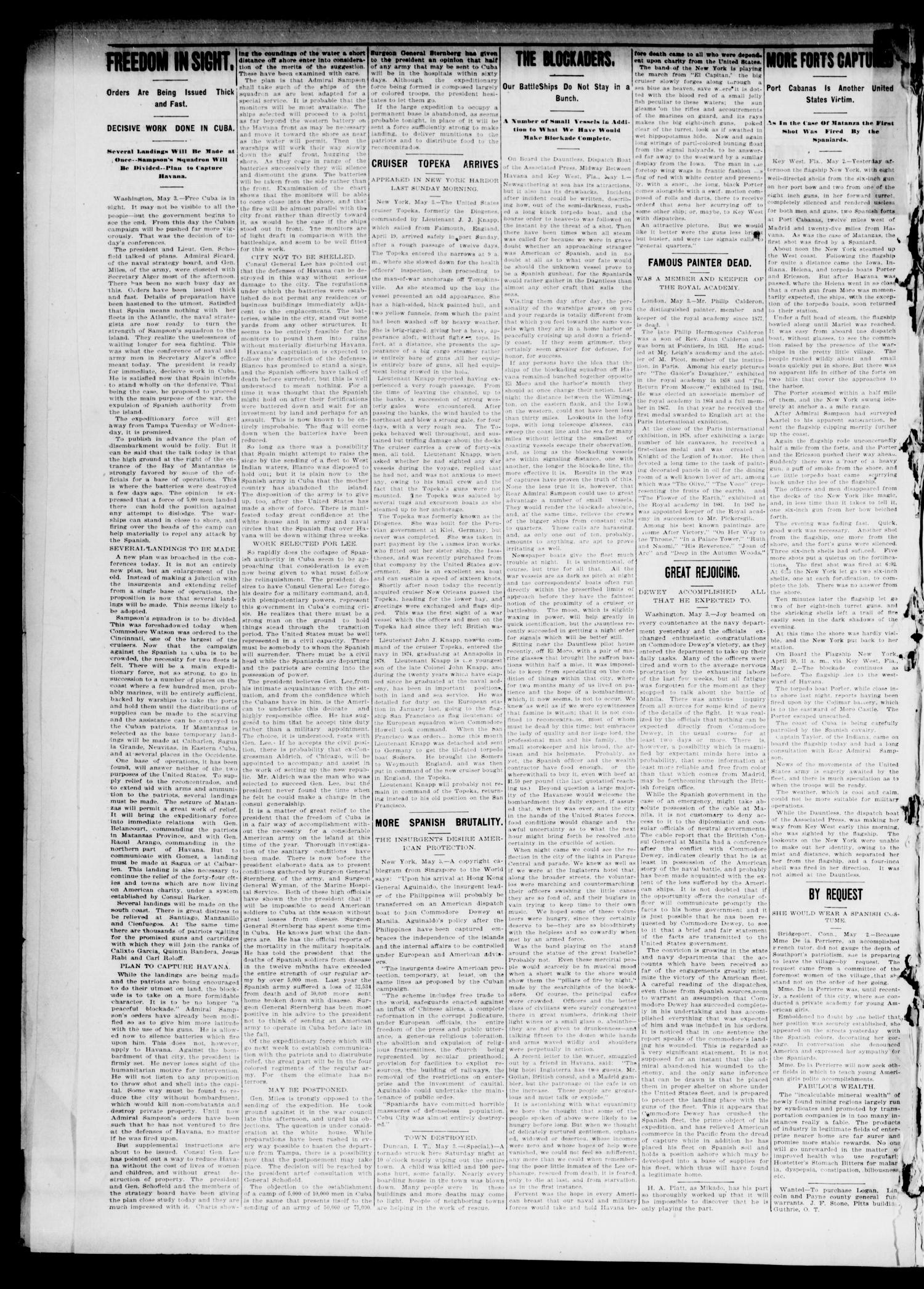 The Daily Oklahoma State Capital. (Guthrie, Okla.), Vol. 10, No. 10, Ed. 1 Tuesday, May 3, 1898                                                                                                      [Sequence #]: 2 of 8