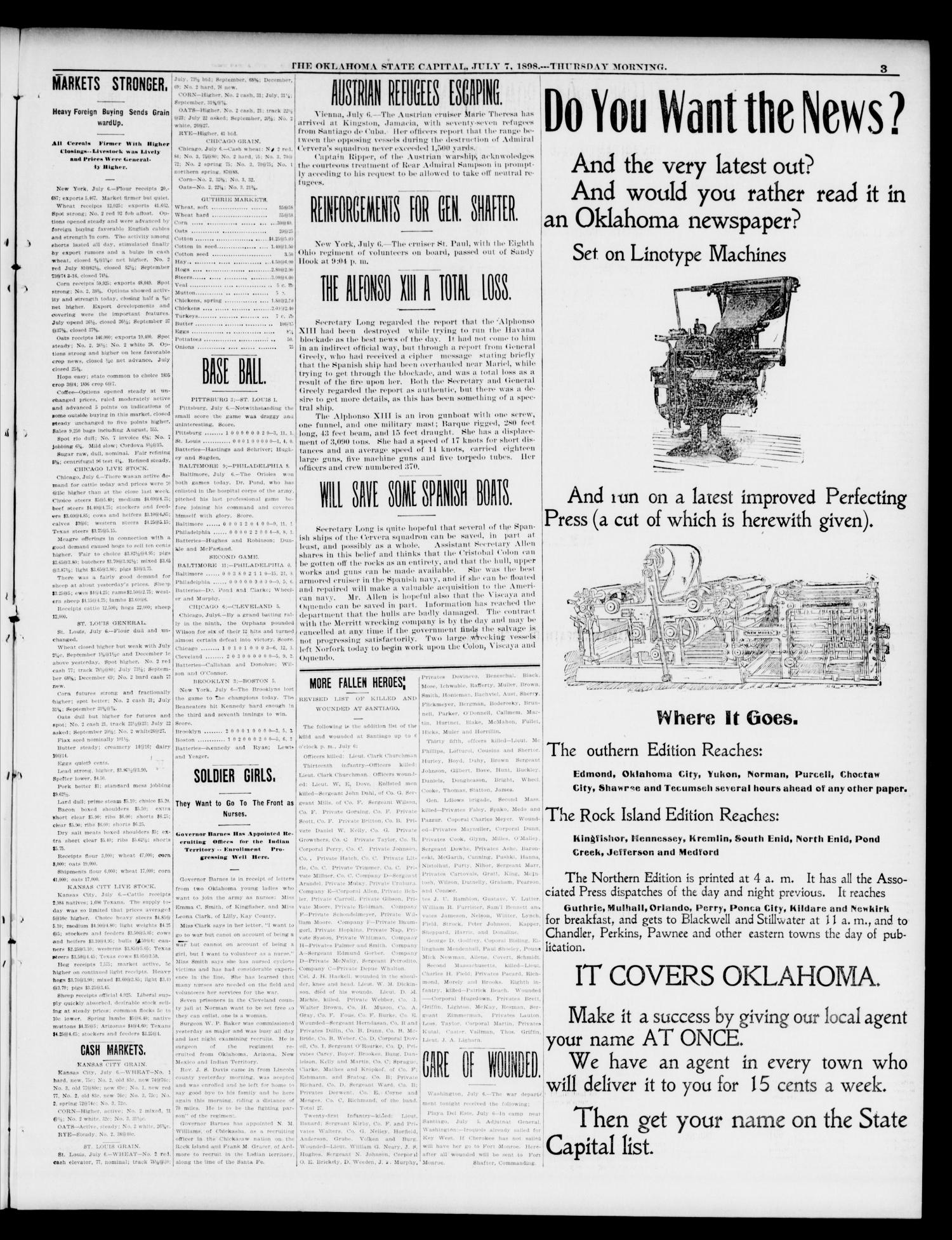 The Daily Oklahoma State Capital. (Guthrie, Okla.), Vol. 10, No. 63, Ed. 1 Thursday, July 7, 1898                                                                                                      [Sequence #]: 3 of 8