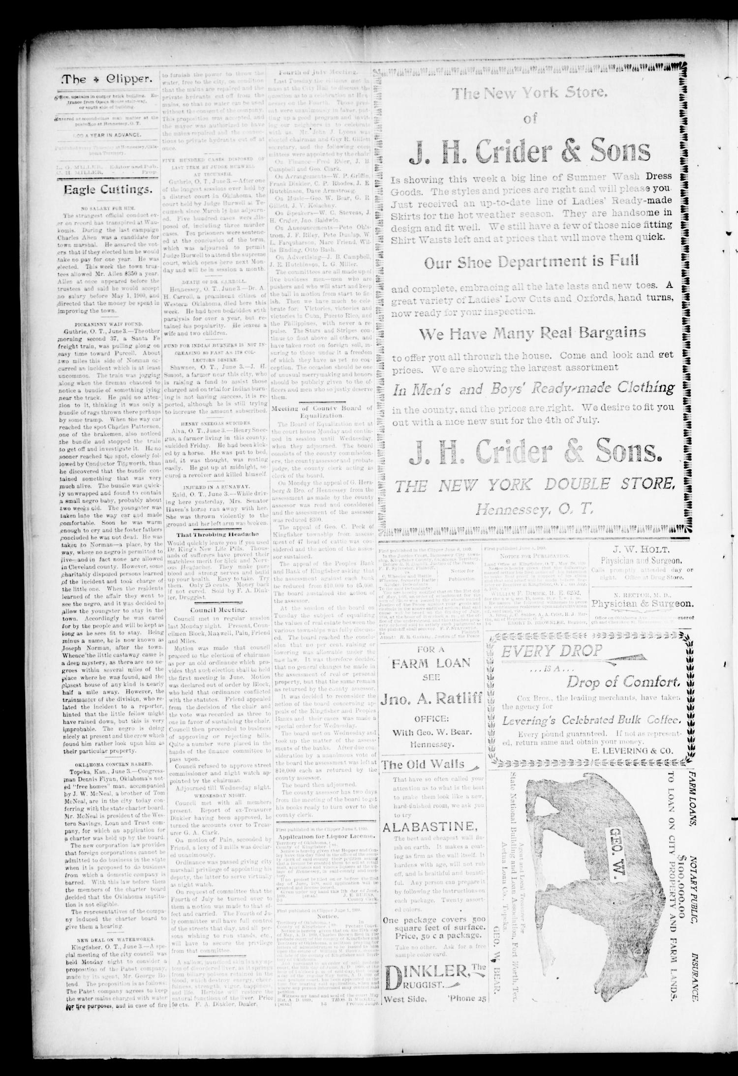 The Hennessey Clipper. (Hennessey, Okla.), Vol. 10, No. 2, Ed. 1 Thursday, June 8, 1899                                                                                                      [Sequence #]: 4 of 8