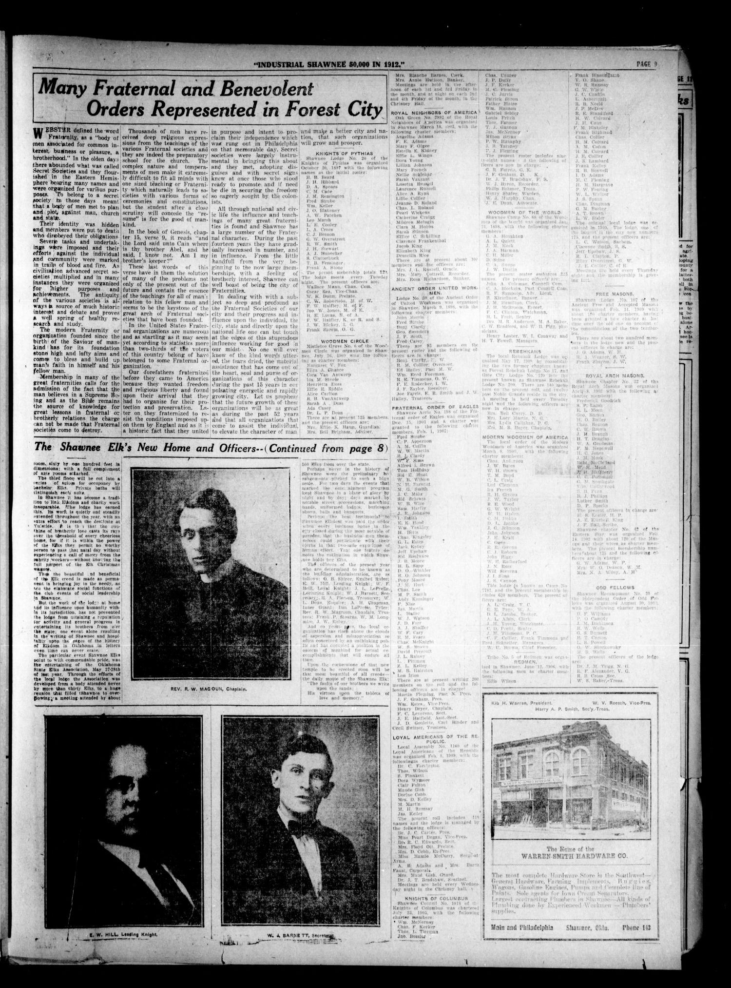 The Shawnee Daily Herald. (Shawnee, Okla.), Vol. 14, No. 292, Ed. 7 Tuesday, June 14, 1910                                                                                                      [Sequence #]: 9 of 14