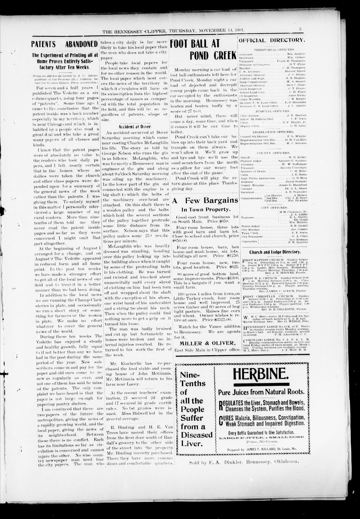 The Hennessey Clipper. (Hennessey, Okla.), Vol. 12, No. 25, Ed. 1 Thursday, November 14, 1901                                                                                                      [Sequence #]: 3 of 8