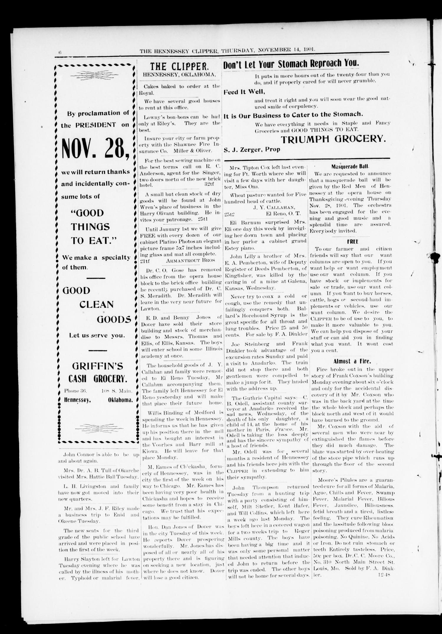 The Hennessey Clipper. (Hennessey, Okla.), Vol. 12, No. 25, Ed. 1 Thursday, November 14, 1901                                                                                                      [Sequence #]: 6 of 8