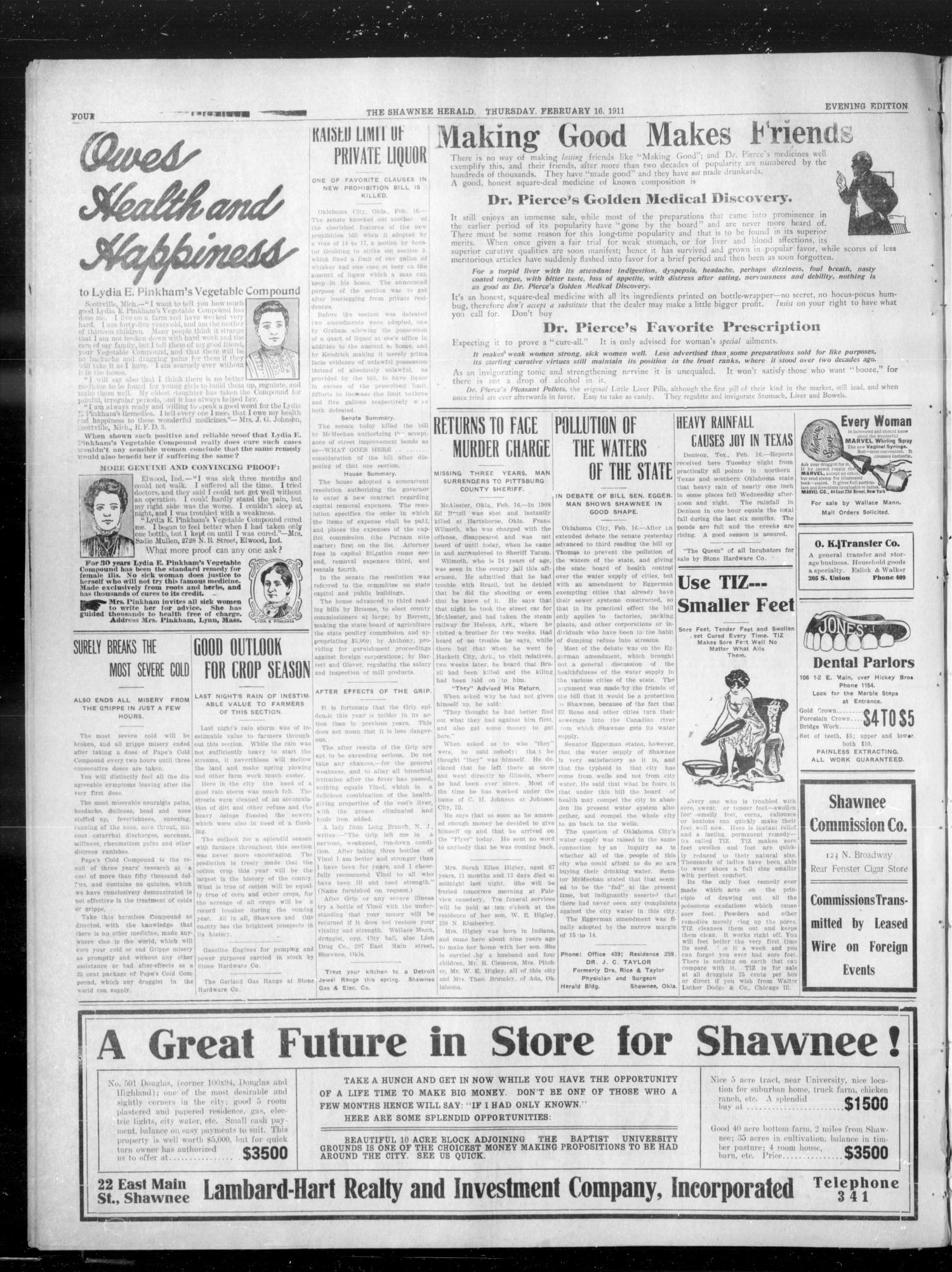 The Shawnee Daily Herald. (Shawnee, Okla.), Vol. 15, No. 162, Ed. 1 Thursday, February 16, 1911                                                                                                      [Sequence #]: 4 of 4