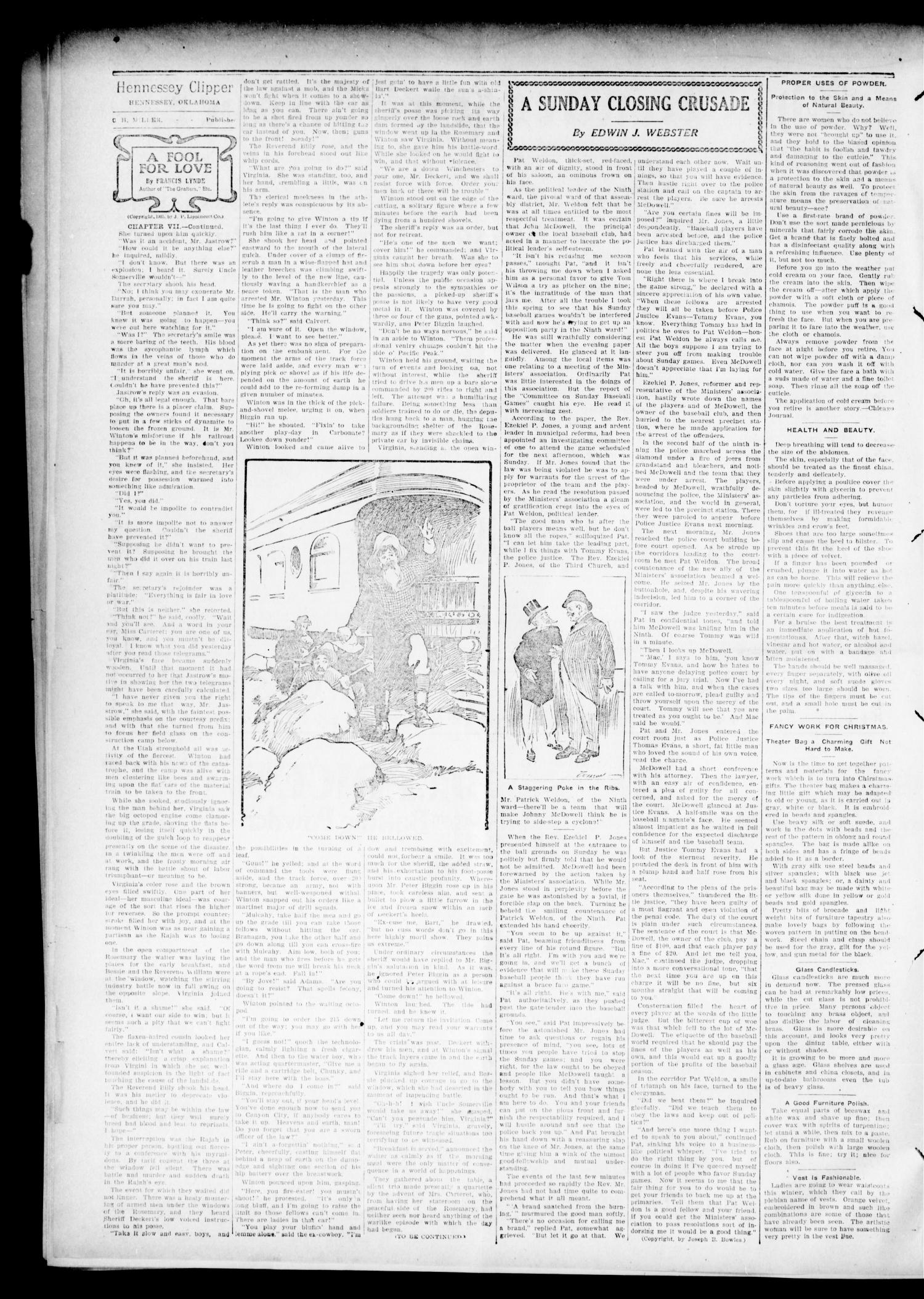 The Hennessey Clipper. (Hennessey, Okla.), Vol. 17, No. 22, Ed. 1 Thursday, October 25, 1906                                                                                                      [Sequence #]: 2 of 8