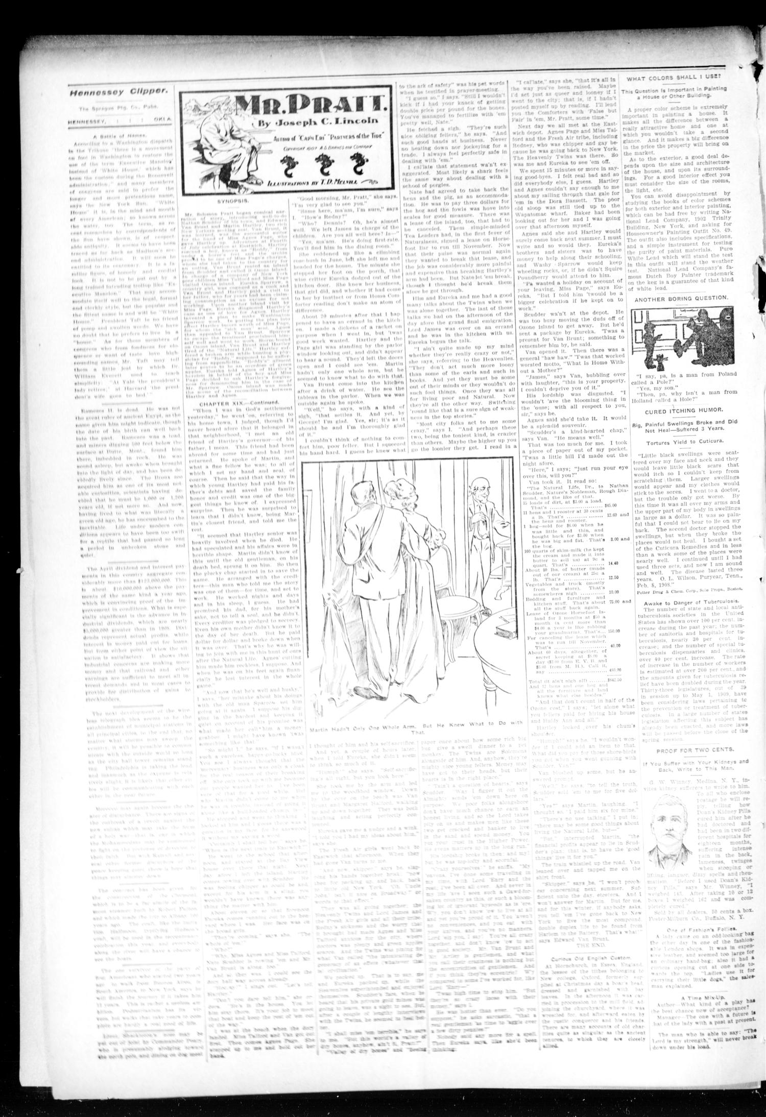The Hennessey Clipper (Hennessey, Okla.), Vol. 19, No. 52, Ed. 1 Thursday, May 13, 1909                                                                                                      [Sequence #]: 2 of 10