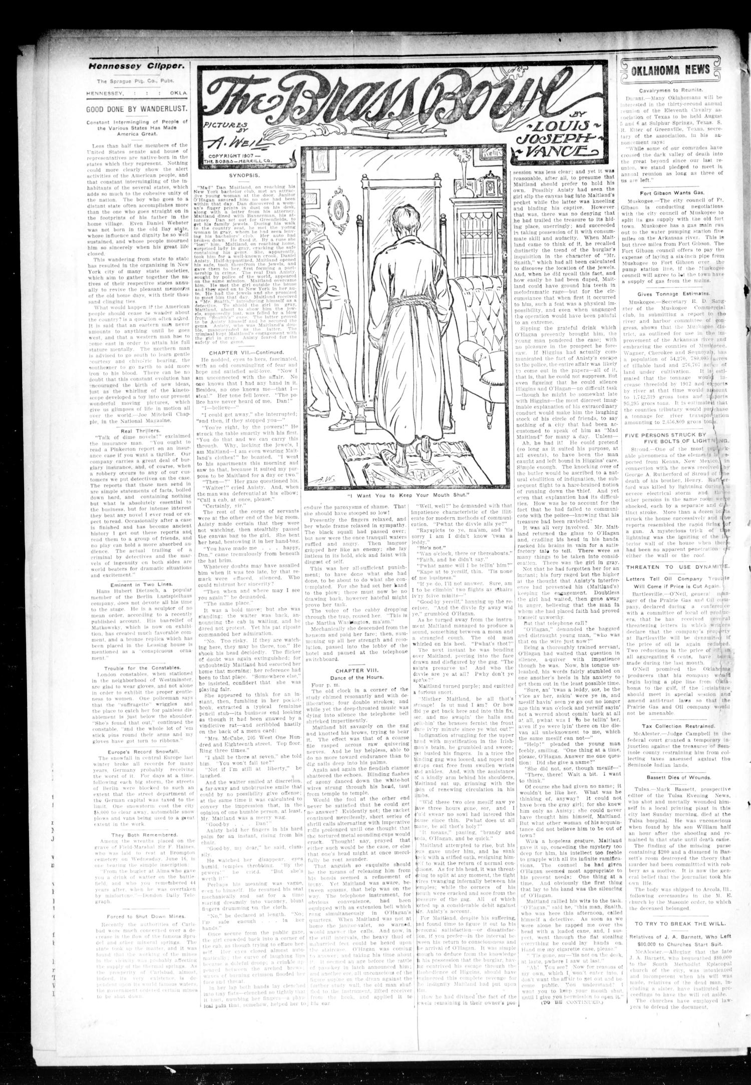 The Hennessey Clipper (Hennessey, Okla.), Vol. 20, No. 13, Ed. 1 Thursday, August 12, 1909                                                                                                      [Sequence #]: 2 of 8