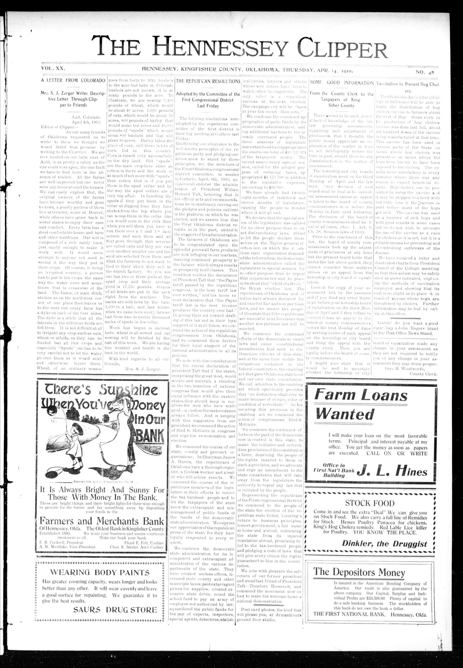 The Hennessey Clipper (Hennessey, Okla.), Vol. 20, No. 48, Ed. 1 Thursday, April 14, 1910                                                                                                      [Sequence #]: 1 of 10