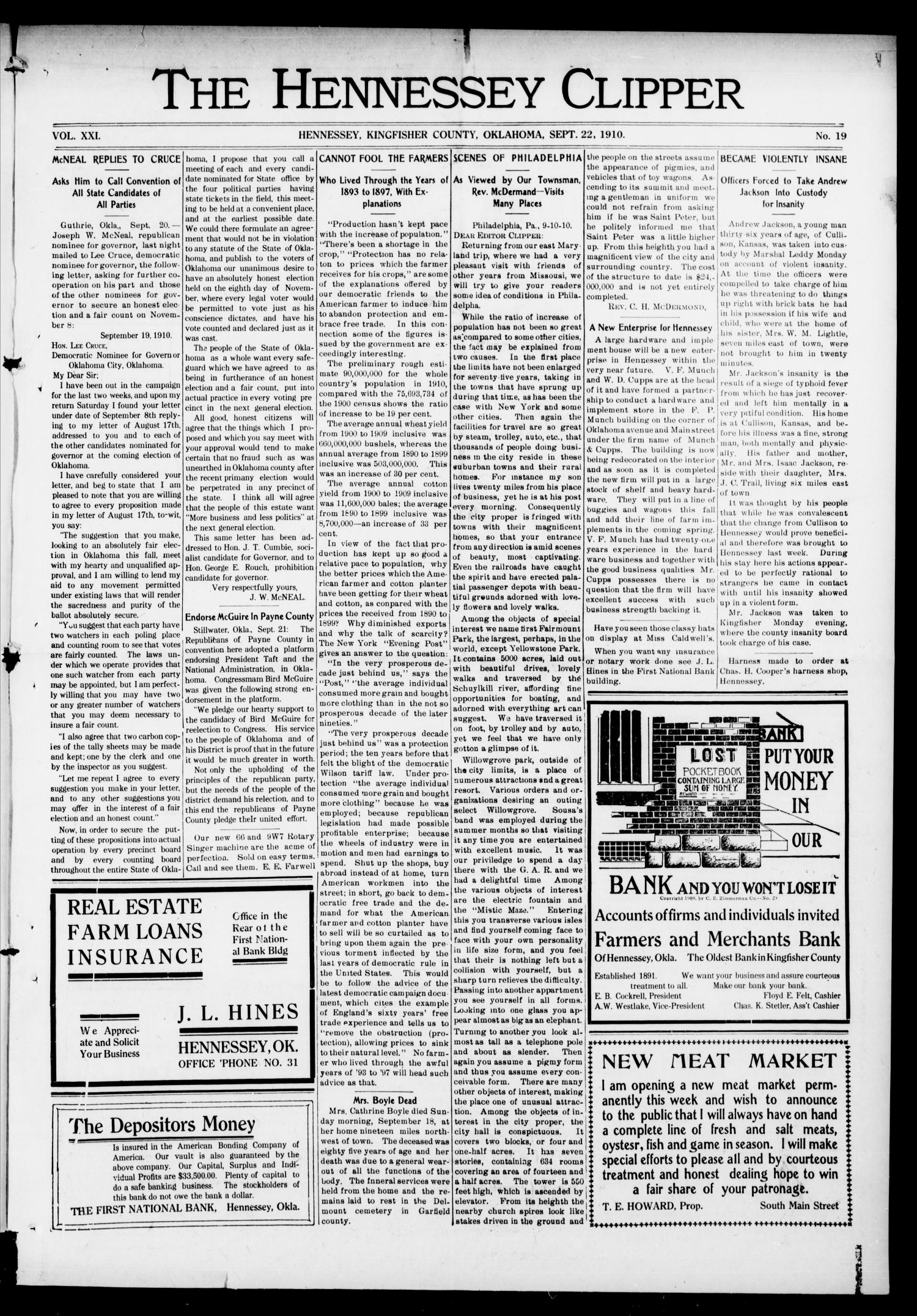 The Hennessey Clipper (Hennessey, Okla.), Vol. 21, No. 19, Ed. 1 Thursday, September 22, 1910                                                                                                      [Sequence #]: 1 of 8