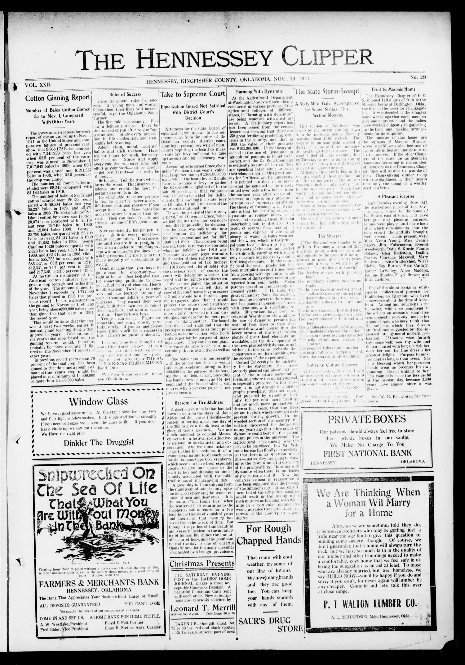 The Hennessey Clipper (Hennessey, Okla.), Vol. 22, No. 29, Ed. 1 Thursday, November 30, 1911                                                                                                      [Sequence #]: 1 of 8