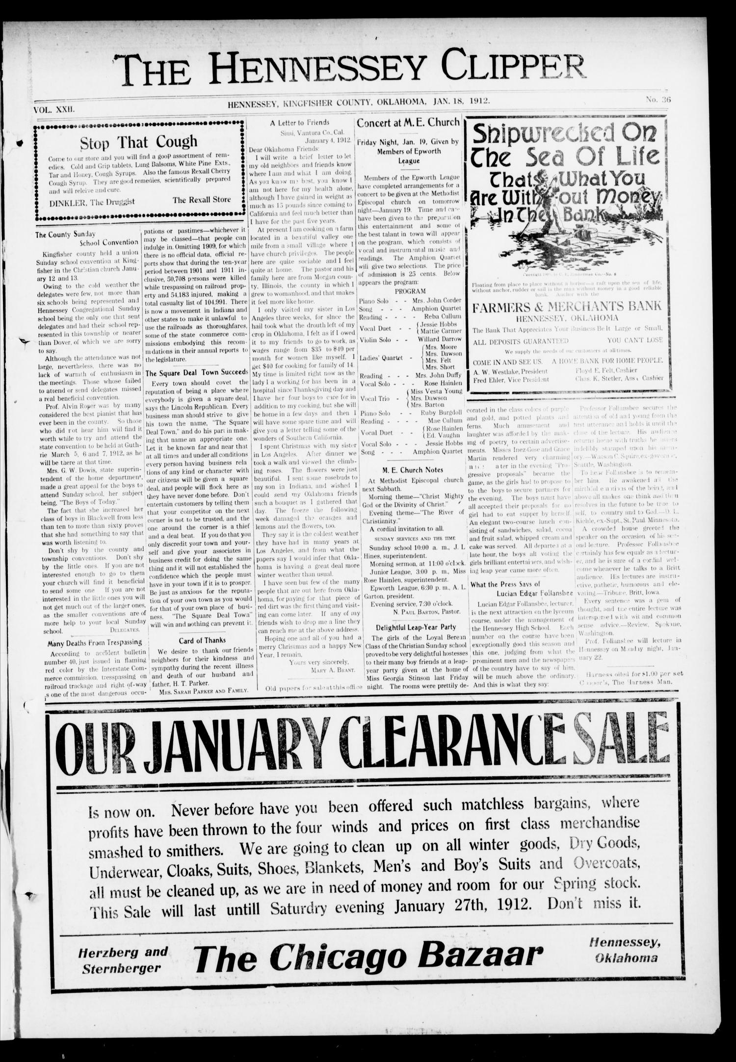 The Hennessey Clipper (Hennessey, Okla.), Vol. 22, No. 36, Ed. 1 Thursday, January 18, 1912                                                                                                      [Sequence #]: 1 of 8