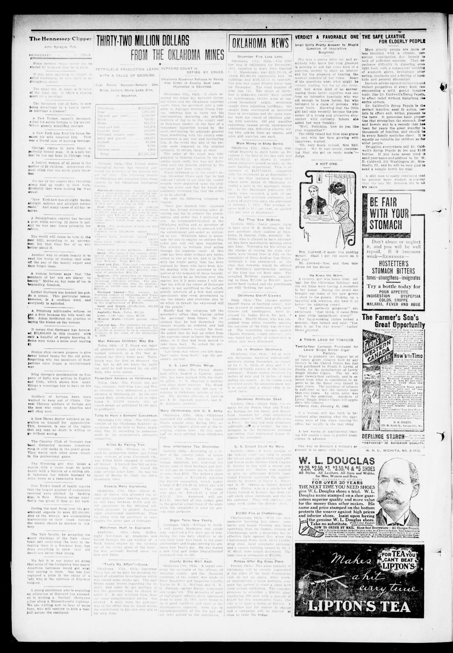 The Hennessey Clipper (Hennessey, Okla.), Vol. 22, No. 36, Ed. 1 Thursday, January 18, 1912                                                                                                      [Sequence #]: 2 of 8