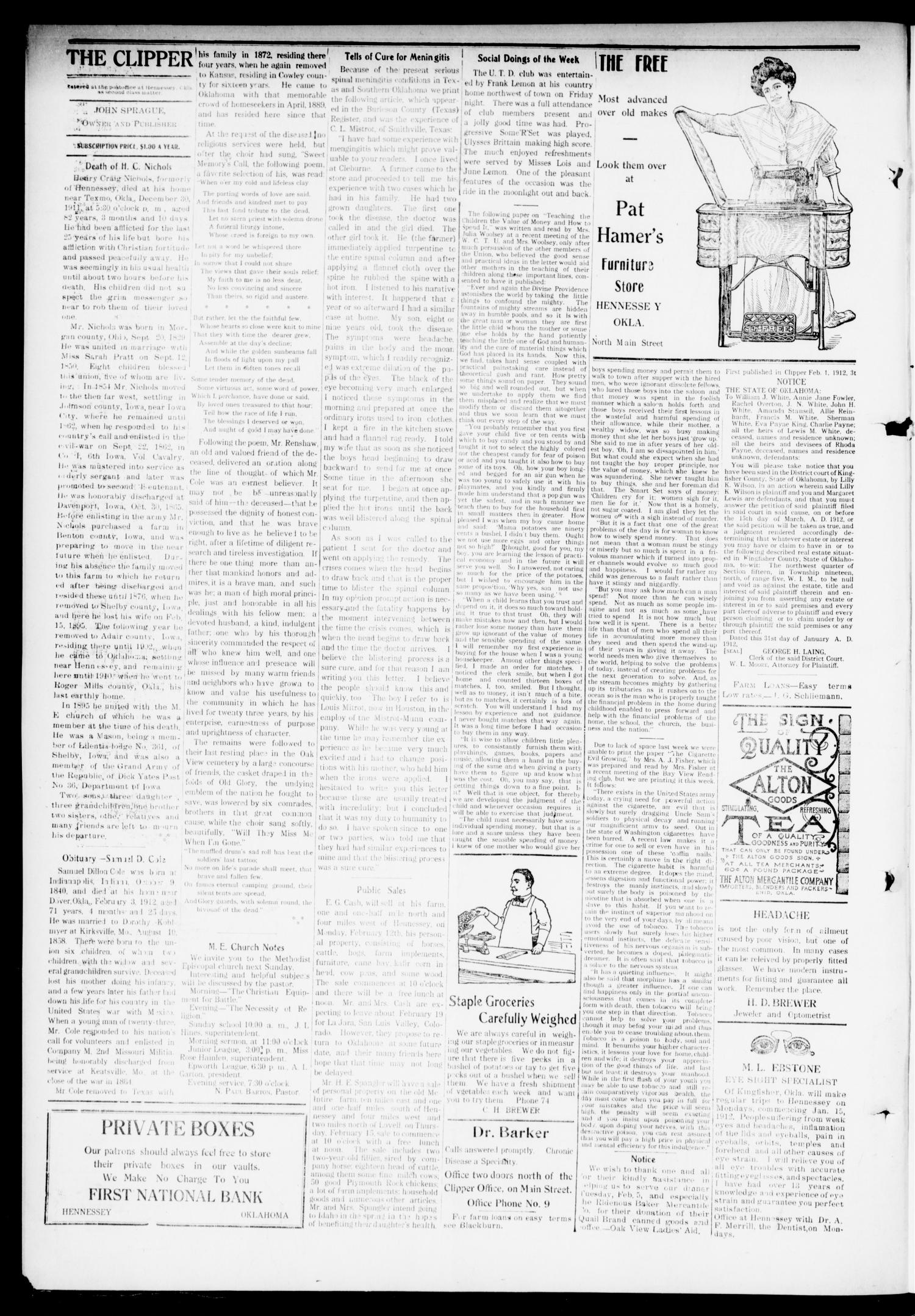 The Hennessey Clipper (Hennessey, Okla.), Vol. 22, No. 39, Ed. 1 Thursday, February 8, 1912                                                                                                      [Sequence #]: 4 of 8
