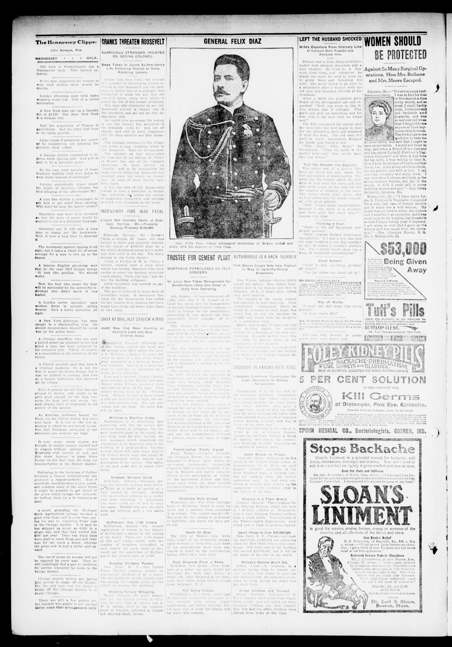 The Hennessey Clipper (Hennessey, Okla.), Vol. 23, No. 26, Ed. 1 Thursday, November 7, 1912                                                                                                      [Sequence #]: 2 of 8