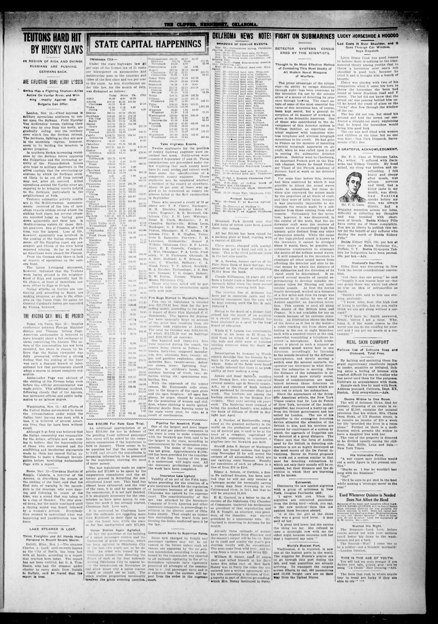 The Hennessey Clipper (Hennessey, Okla.), Vol. 26, No. 24, Ed. 1 Thursday, November 18, 1915                                                                                                      [Sequence #]: 3 of 12